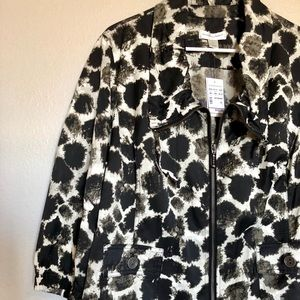 Christopher & Banks Zip Up Printed Jacket XL NWT